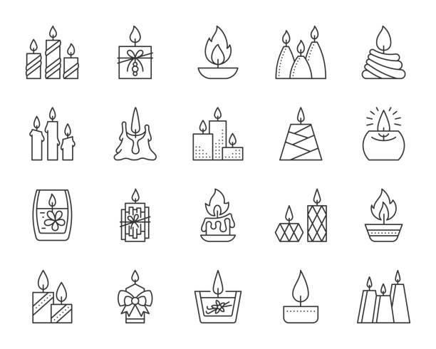 ilustraciones, imágenes clip art, dibujos animados e iconos de stock de vela llama simple línea negra los iconos vector set - adviento
