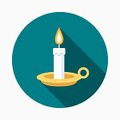 Candle Flat Design Easter Icon with Side Shadow