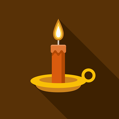 Candle Flat Design Halloween Icon with Side Shadow