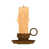 Candle from paraffin wax in candlestick isolated on white background. Extinguished candle with a holder in cartoon style. Vector illustration