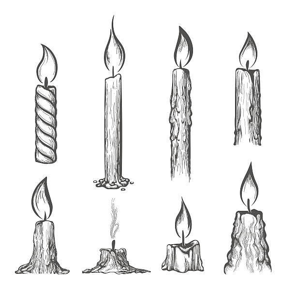 Candle hand drawn set Candle hand drawn set. Vector burning candles sketch on white cartoon of birthday cake outline stock illustrations