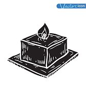 Candle icon, hand drawn vector illustration.