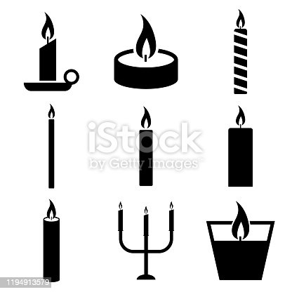 Candle icon, logo isolated on white background