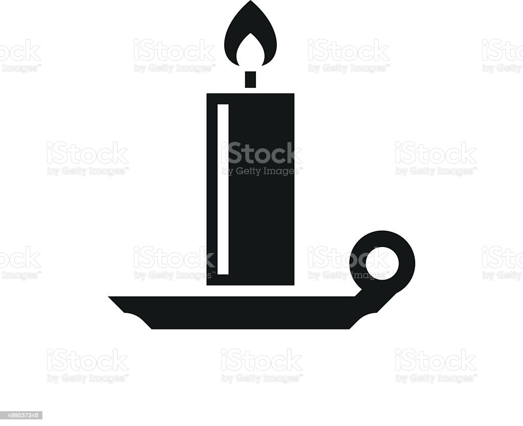 Candle icon on a white background. - SingleSeries vector art illustration