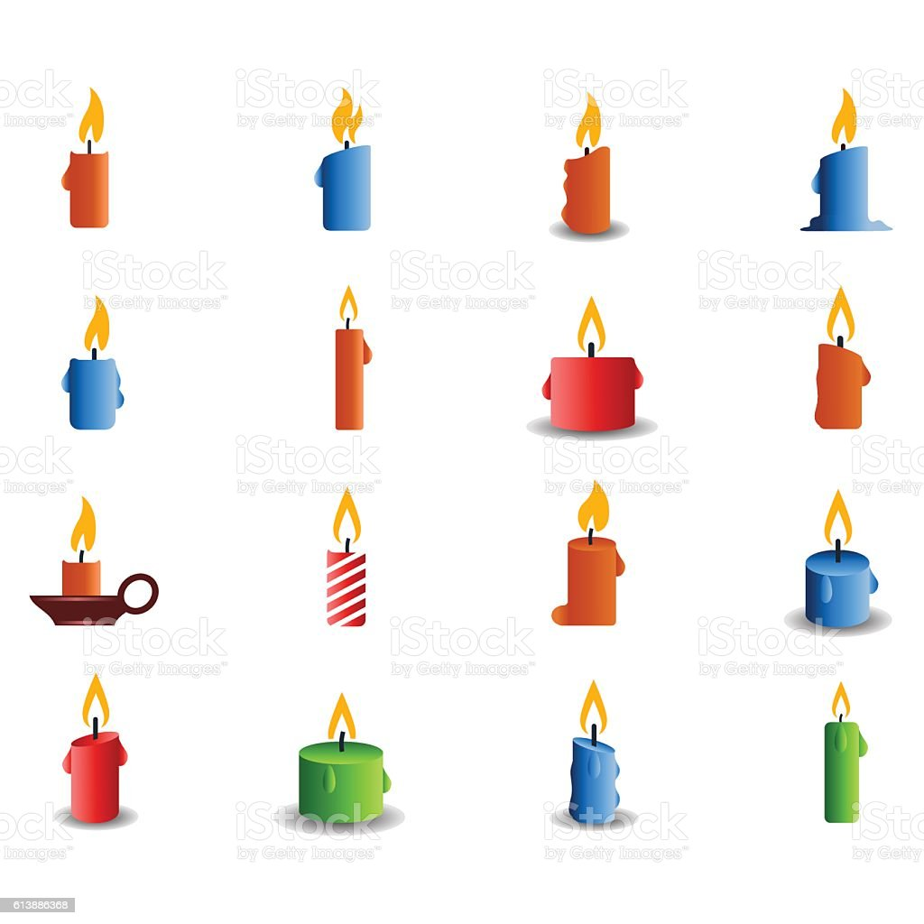 Candle icon set vector art illustration
