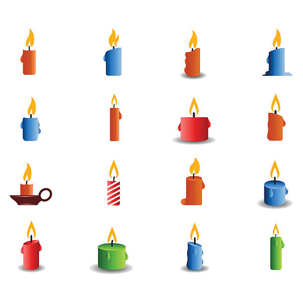 Candle icon set Candle icon set candlestick holder stock illustrations