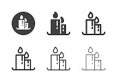 Candle Icons Multi Series Vector EPS File.