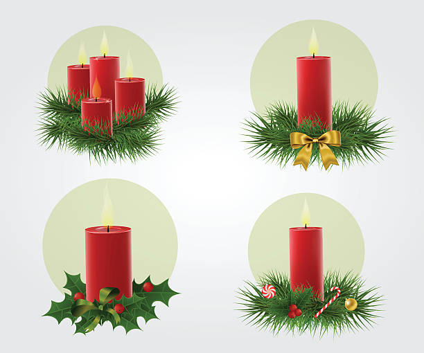 ilustrações, clipart, desenhos animados e ícones de conjunto de ilustração de velas - advento