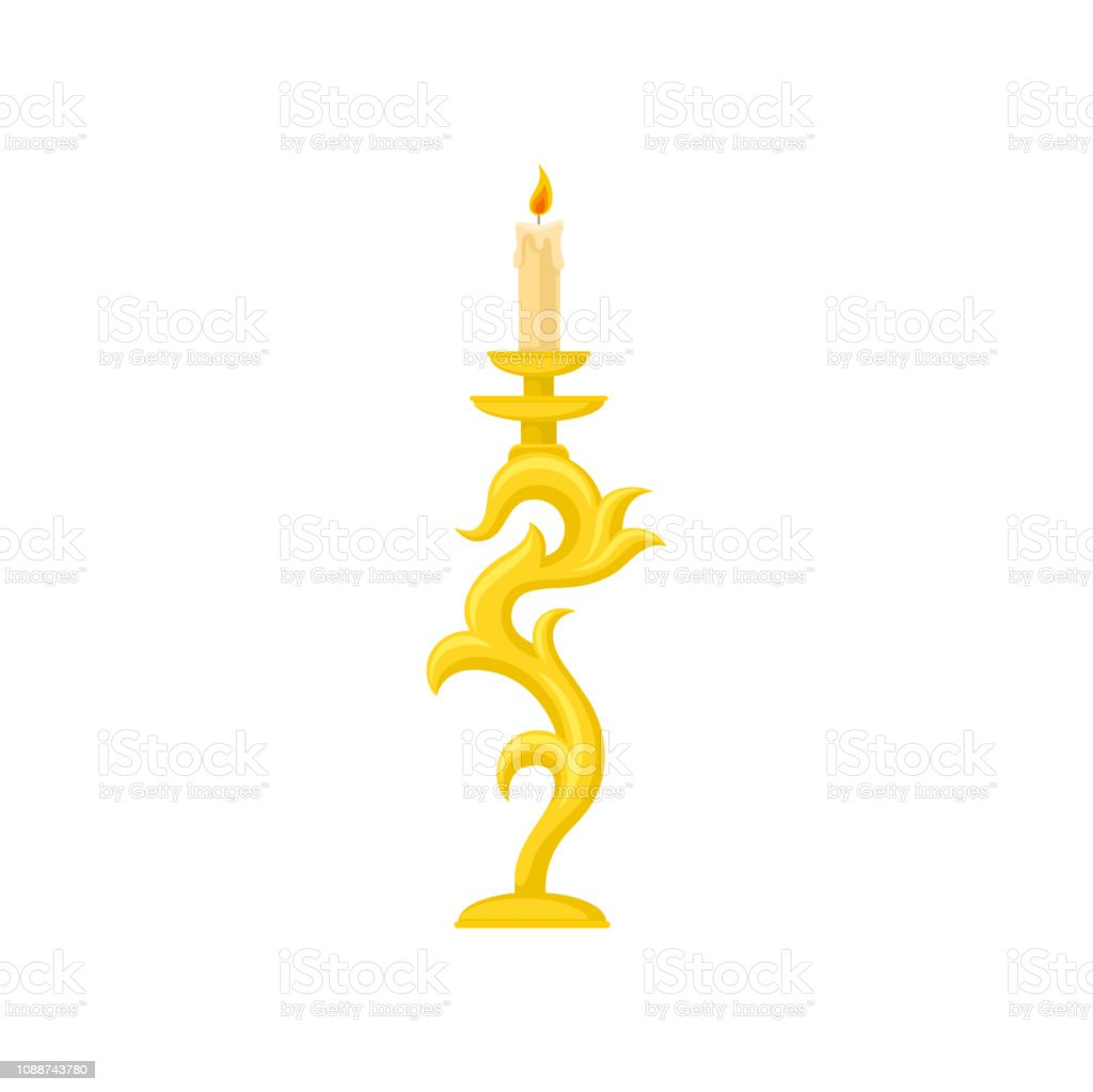 Candle In Golden Candlestick Curve Vintage Candle Holder Vector Illustration On A White Background Stock Illustration Download Image Now Istock