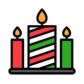 candles, light celebration Xmas, filed editable outline icons,