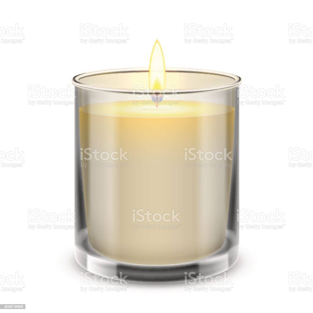 Candle light in a straight glass jar. Vector realistic illustration. vector art illustration