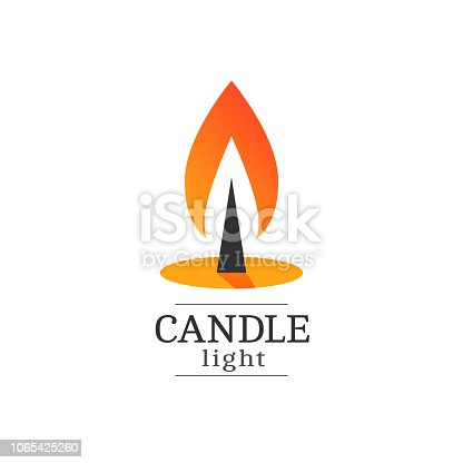 Burning candle vector logo. Flat style illustration of a burning fire. Isolated on white background.