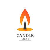 Burning candle vector logo. Flat style illustration of a burning fire. Isolated on white background.