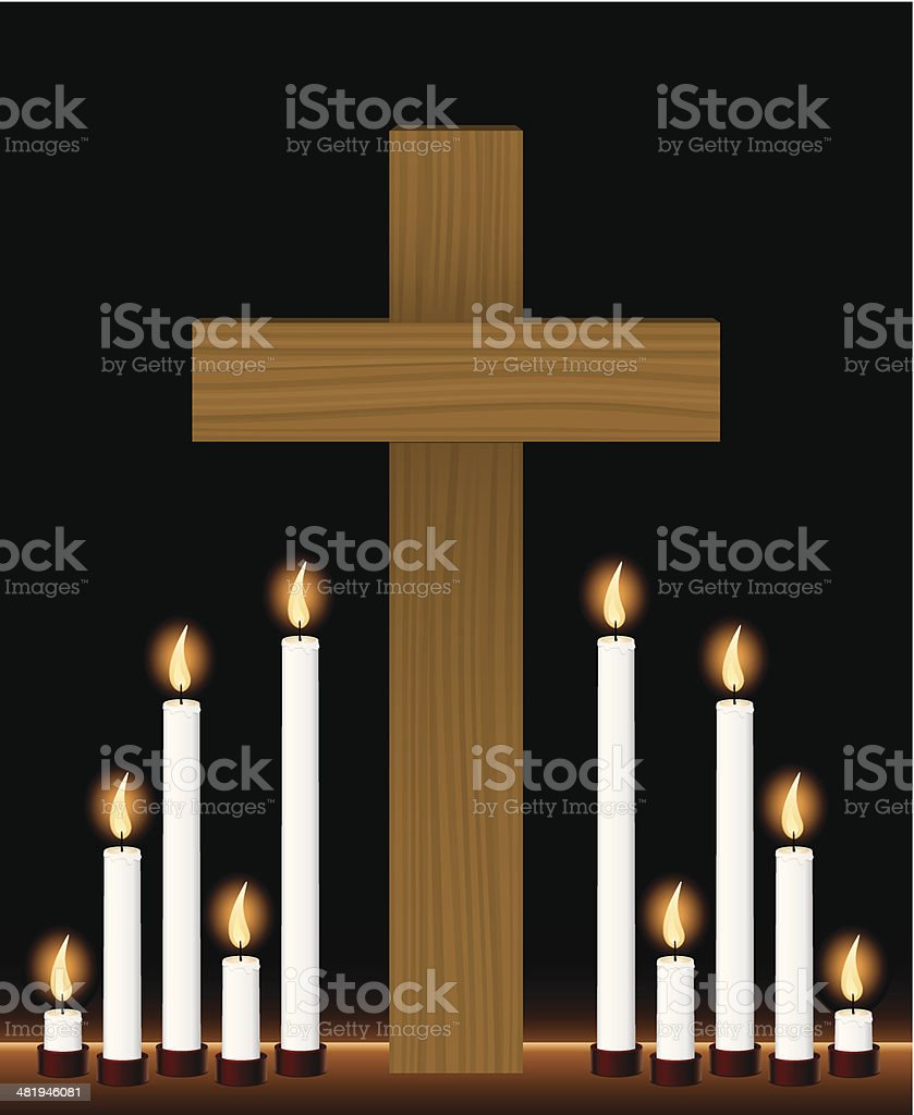 Candle Light Vigil and Cross royalty-free stock vector art