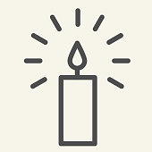 Candle line icon. Holiday wax candle with lightning outline style pictogram on white background. New Year or Christmas signs for mobile concept and web design. Vector graphics