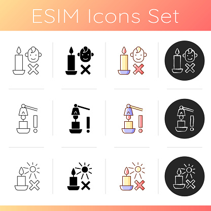 Candle safety precautions manual label icons set