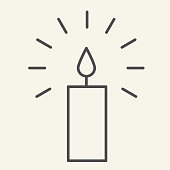 Candle thin line icon. Holiday wax candle with lightning outline style pictogram on white background. New Year or Christmas signs for mobile concept and web design. Vector graphics