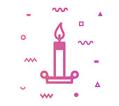 Candle icon shape with outline vector illustration. Concept line icon for social media, networking, marketing, social media campaign etc.