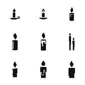 Candle vector icons. Simple illustration set of 9 Candle elements, editable icons, can be used in symbol, UI and web design