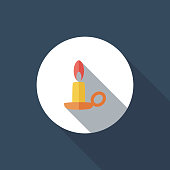 Vector file of candle icon with long shadow