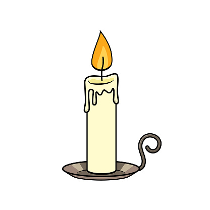 Candle with holder In a white background for assembling or creating teaching materials for moms doing homeschooling and teachers searching for images for teaching materials such as flashcards or children's books.