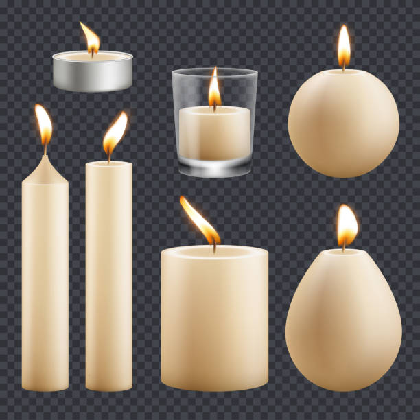 Candles collection. Decorative birthday celebration wax candles flame different types vector realistic pictures Candles collection. Decorative birthday celebration wax candles flame different types vector realistic pictures. Candle realistic for religion or decorative birthday illustration candlestick holder stock illustrations