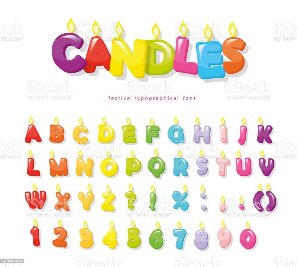 キャンドルのフォントですお祝い漫画文字と誕生日やその他のデザインの