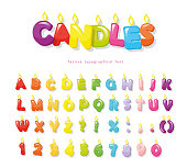 Candles font. Festive cartoon letters and numbers for birthday or other design. Vector