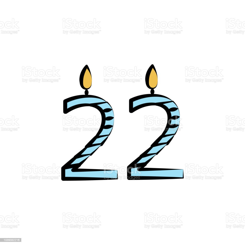 Candles For 22 Years Colored Icon Element Of Birthday Mobile Concept And Web Apps Color Can Be Used