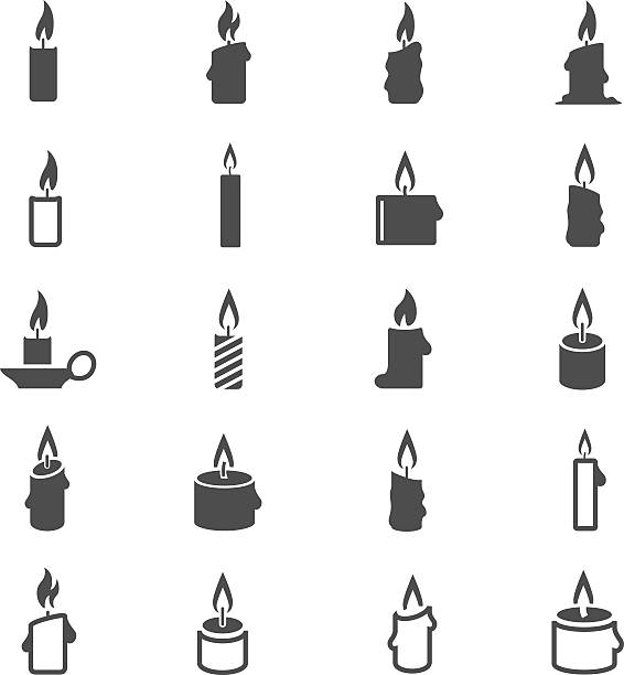 Candles icon set Candles icon set candlestick holder stock illustrations