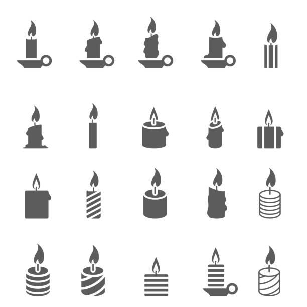 Candles icon set Candles icon set candle stock illustrations
