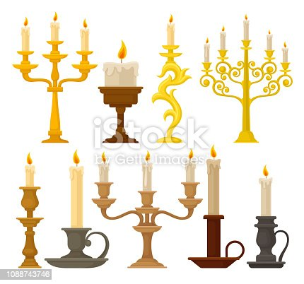 Candles in candlesticks set, vintage candle holders and candelabrums vector Illustration isolated on a white background.