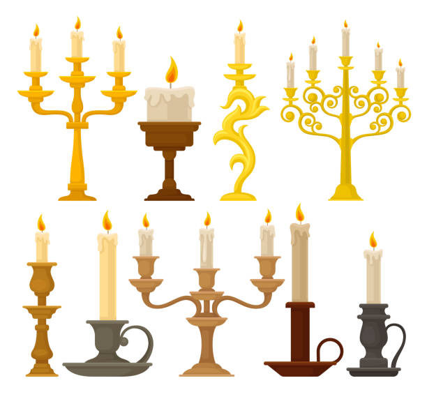 Candles in candlesticks set, vintage candle holders and candelabrums vector Illustration on a white background Candles in candlesticks set, vintage candle holders and candelabrums vector Illustration isolated on a white background. candlestick holder stock illustrations