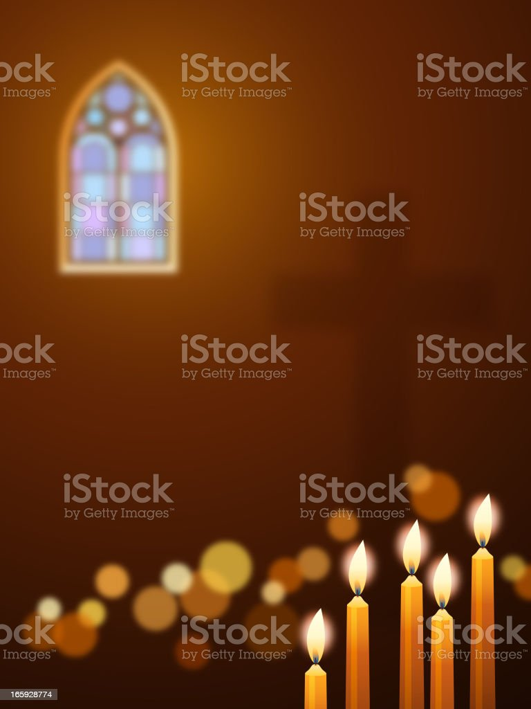 Candles in Church vector art illustration