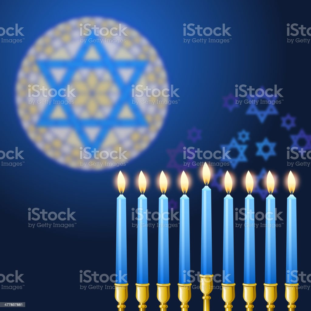 Candles in Hanukkah vector art illustration