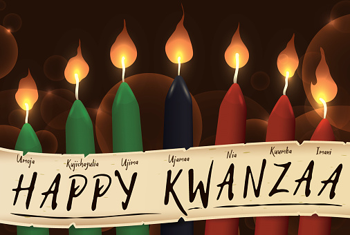 Candles of Kwanzaa with a Scroll with the Seven Principles