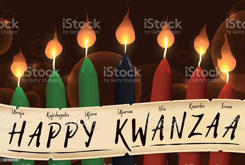 Candles of Kwanzaa with a Scroll with the Seven Principles - ilustración de arte vectorial