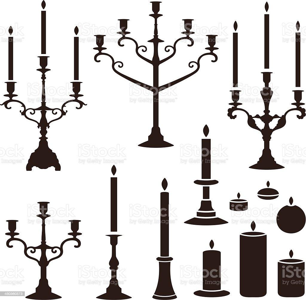 candles set vector art illustration