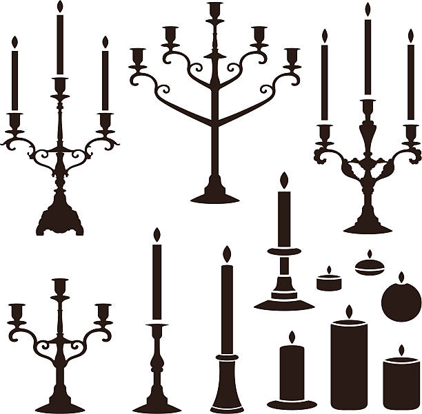 candles set vector silhouettes of candles candlestick holder stock illustrations