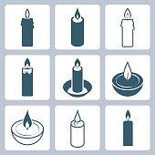 Candles vector icon set