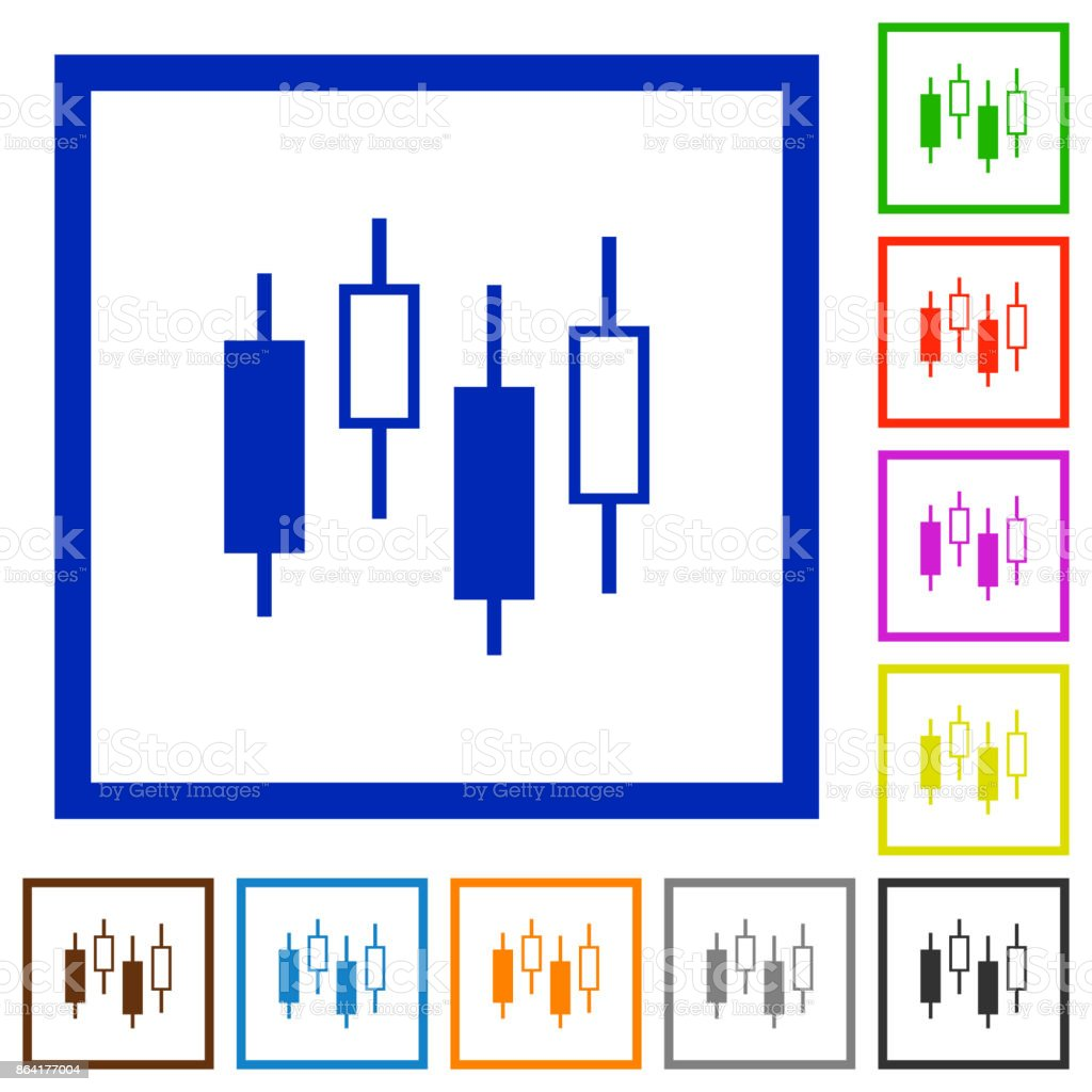 Candlestick chart flat framed icons royalty-free candlestick chart flat framed icons stock vector art & more images of applying