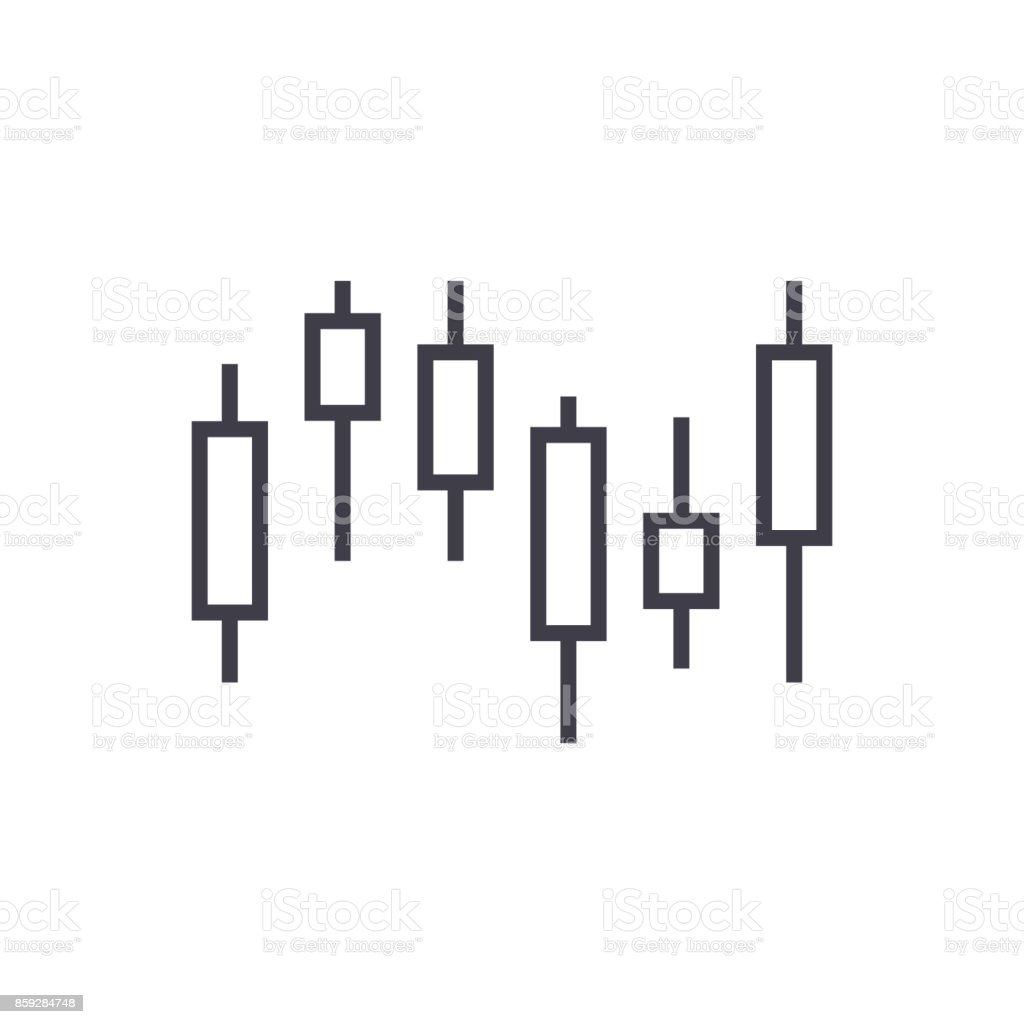 candlestick chart vector line icon, sign, illustration on background, editable strokes vector art illustration