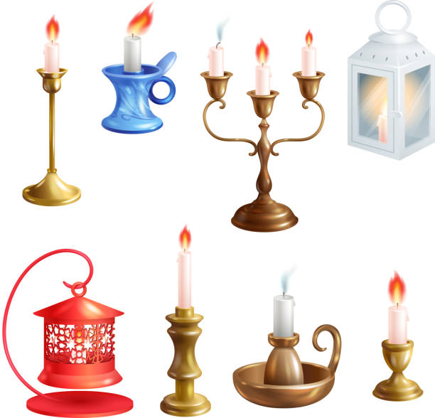 Candlestick vector candle lantern vintage candlelight decoration Candlestick vector candle lantern vintage candlelight decoration and old candelabrum holder illustration set of antique candelabra fire light lamp isolated on white background. candlestick holder stock illustrations