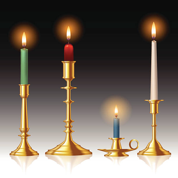 Candlestick Retro candlesticks with candles isolated on background. Vector illustration candlestick holder stock illustrations