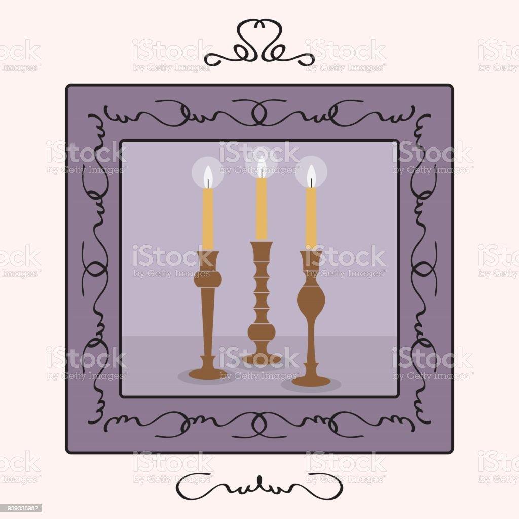 Kerzen Halter Set Mit Beleuchtete Kerzen Innerhalb Eines Frames ...