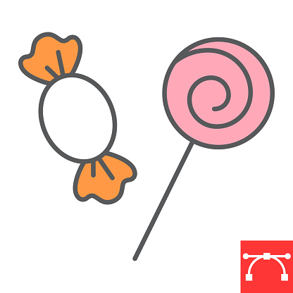 Candy and lollipop color line icon