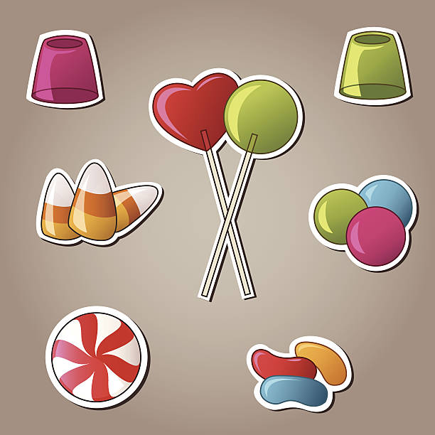 Candy and Sweets Vector Set A collection of sweets and candy in sticker style. gum drop stock illustrations