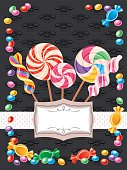 Candy Background  with copy space on elegant black background (Vertical). Vector.