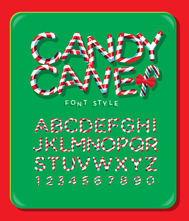 Candy Cane alphabet capital letter font design with red and white stripes