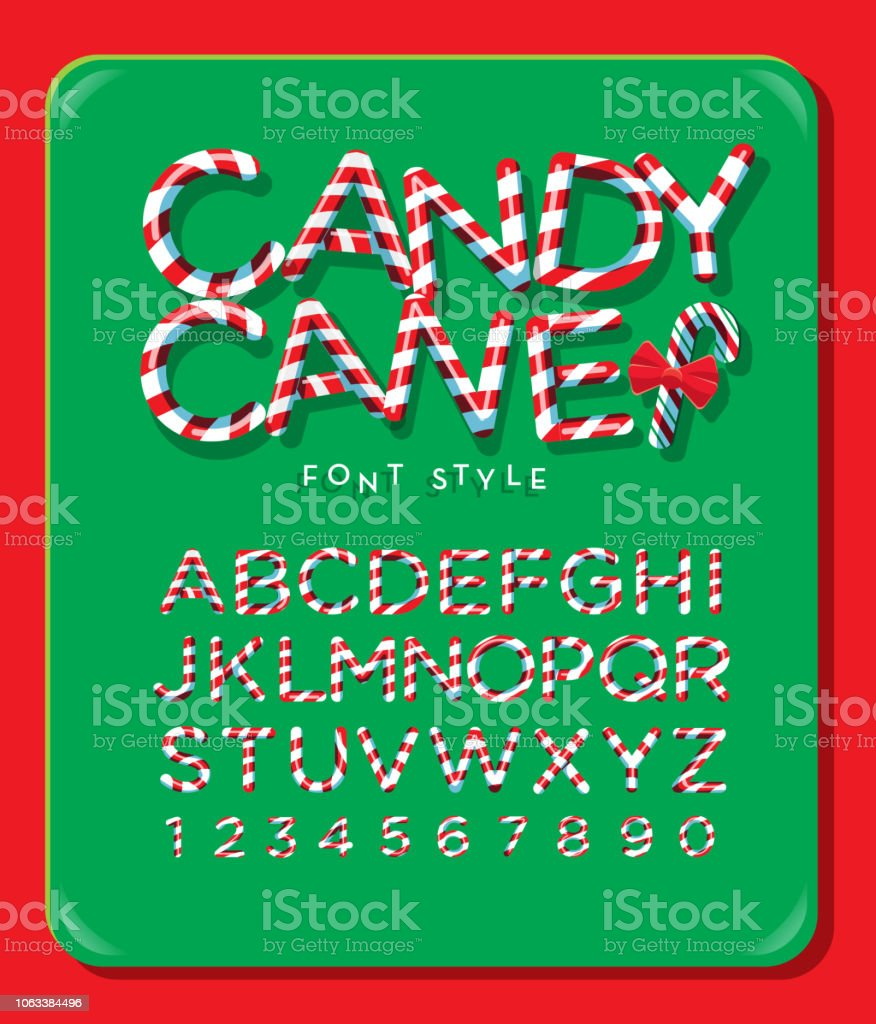 Candy Cane alphabet capital letter font design with red and white stripes vector art illustration